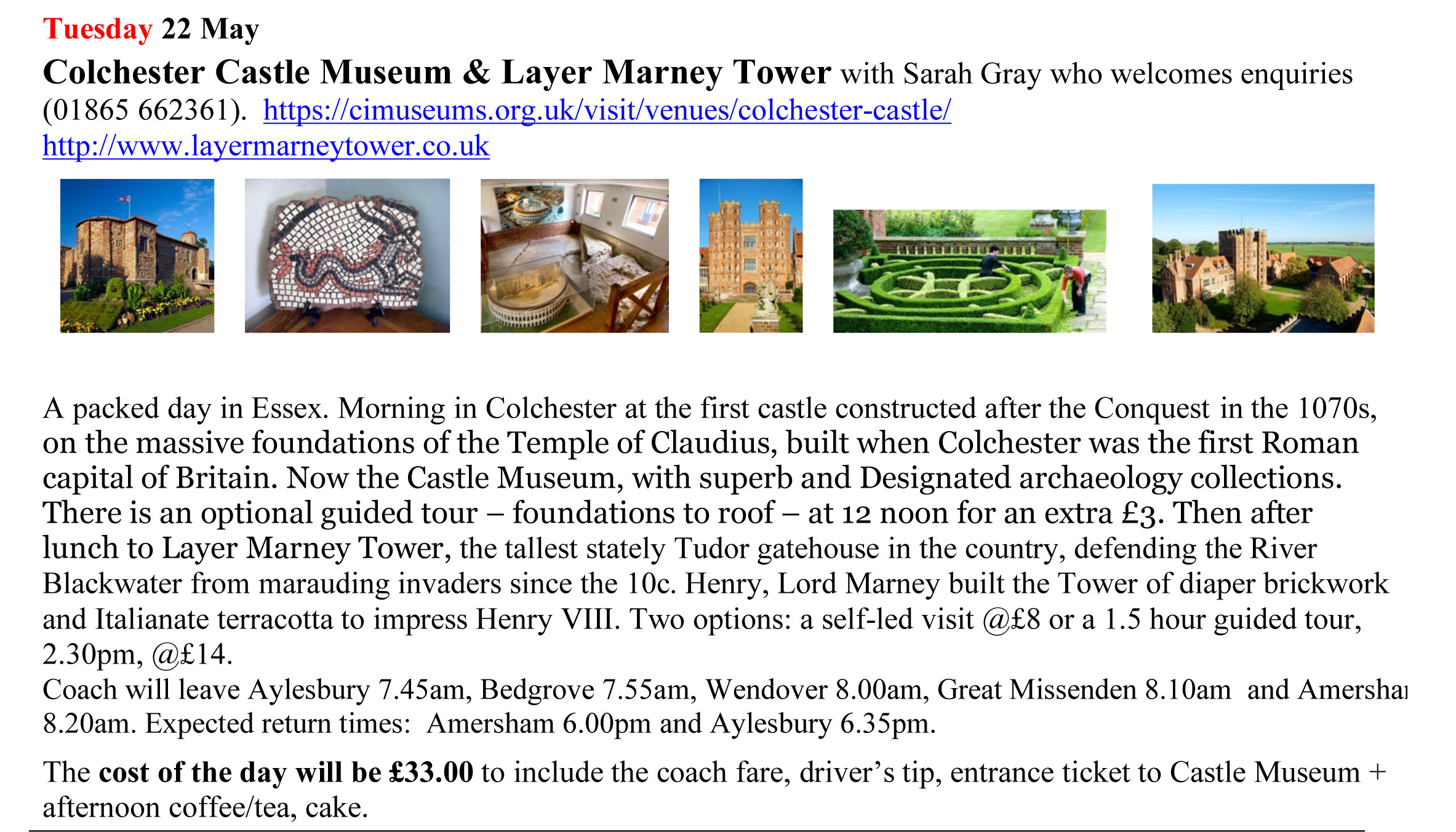 Colchester outing details