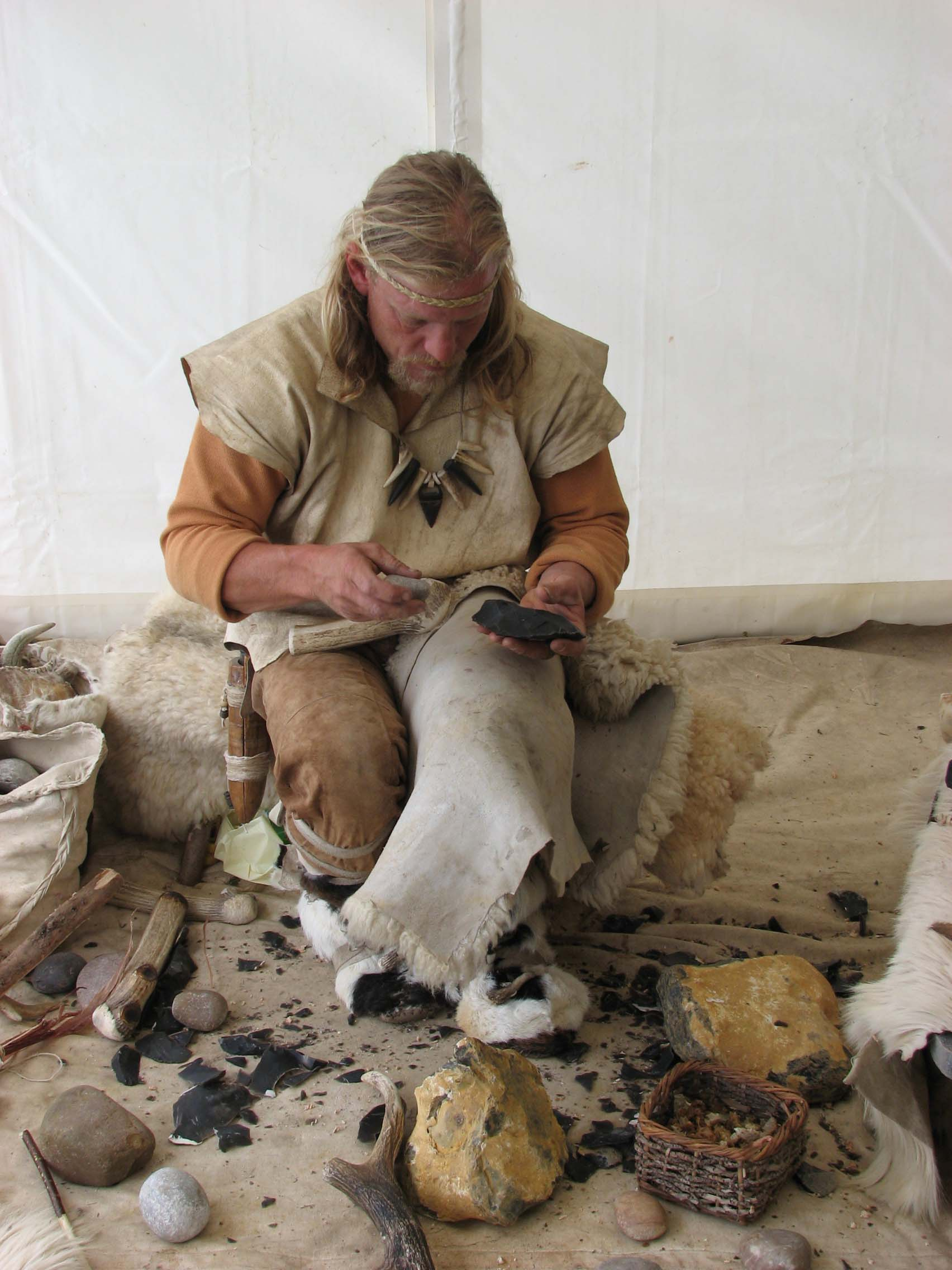 John Lord making a replica hand axe in May 2007