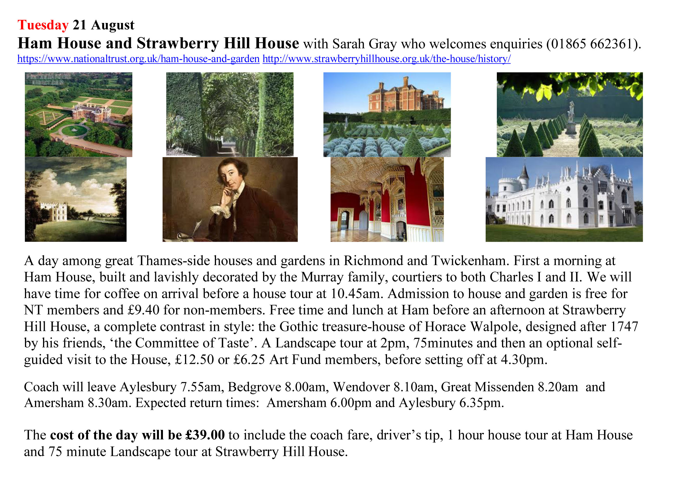 Ham and Strawberry Hill outing details