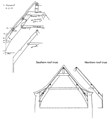 Sketch plan and drawn section of roof truss