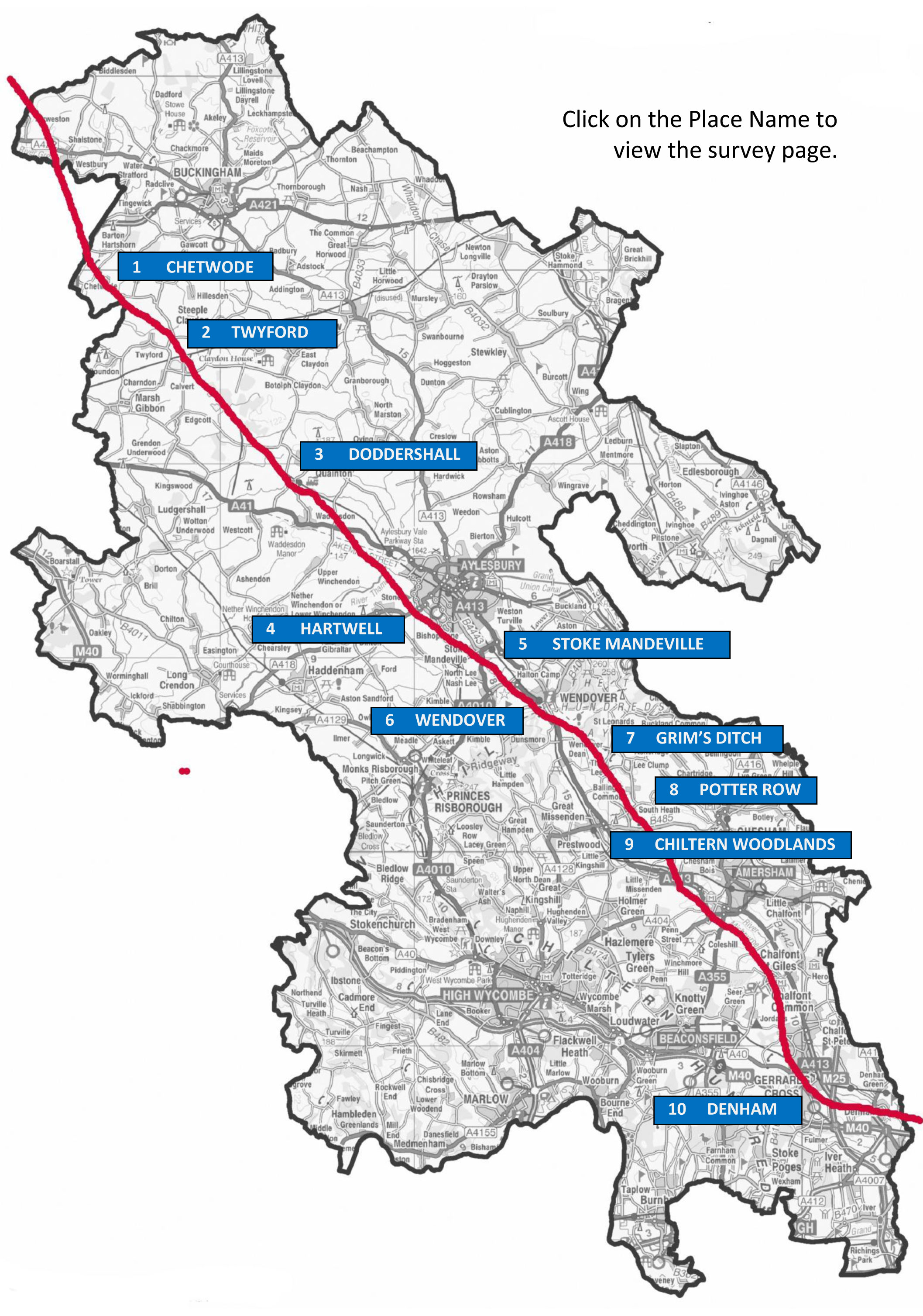 Map showing the line of HS2 across Bucks with links to places surveyed by BAS members