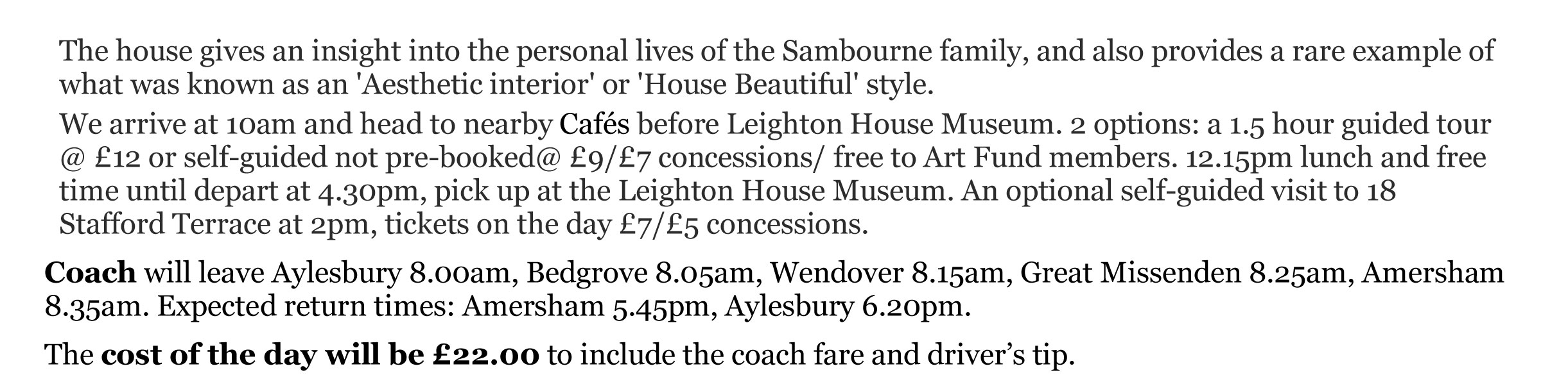 Leighton House outing details