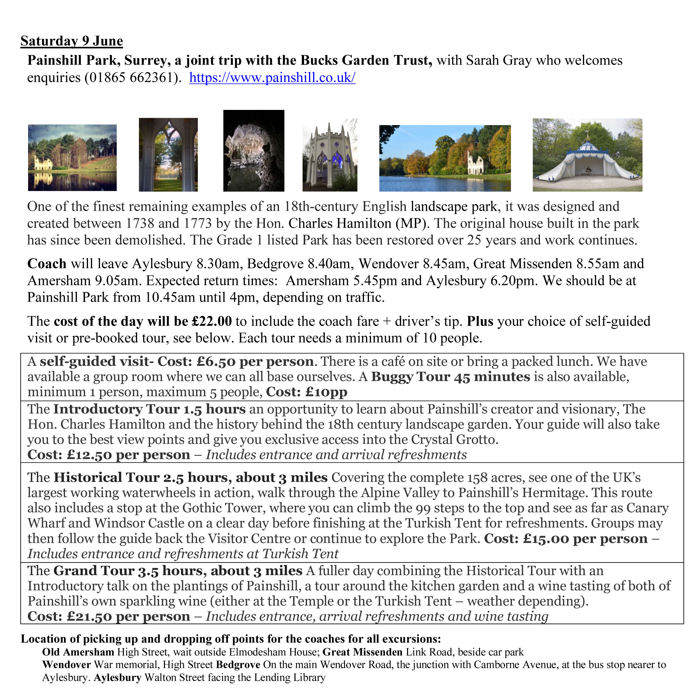Painshill outing details