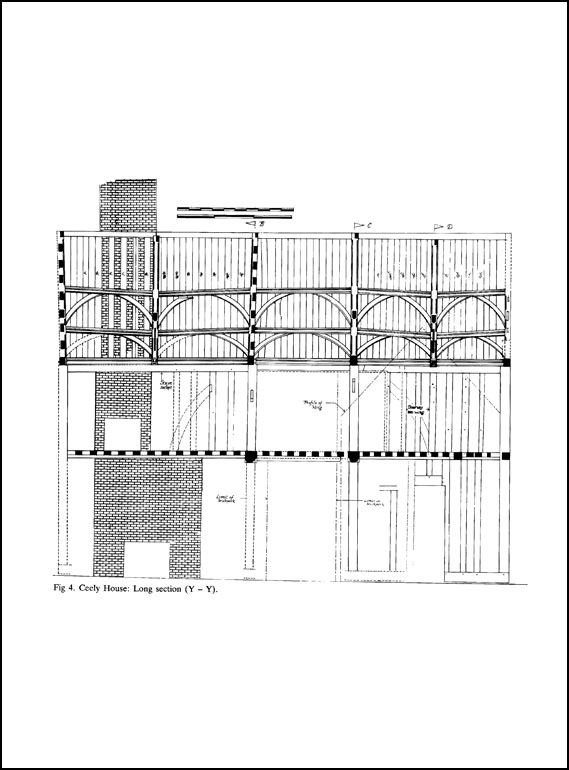Survey of the timber frame of Ceeley House (the County Museum) Aylesbury; a medieval house