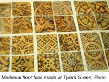 Medieval floor tiles made at Tylers Green, Penn