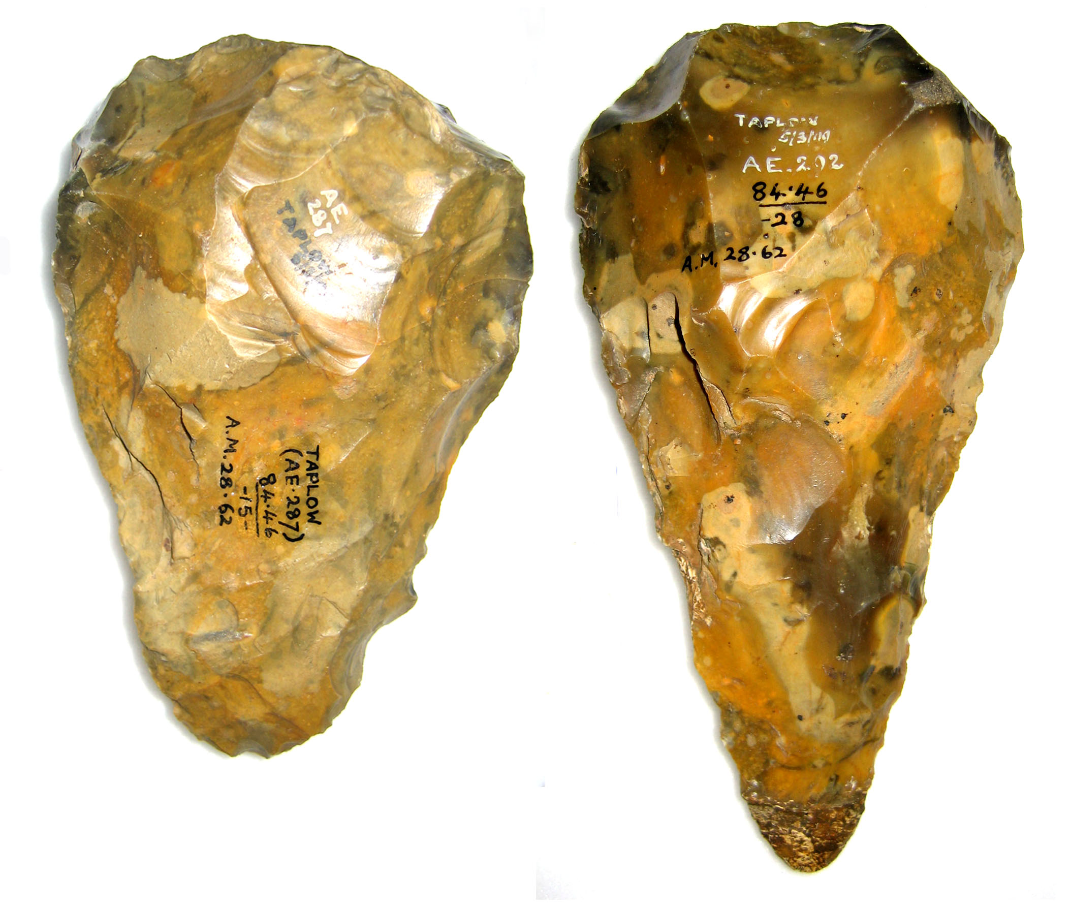 Two stone age hand axes found at Taplow